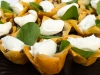Red onion, goat cheese and basil tartlets