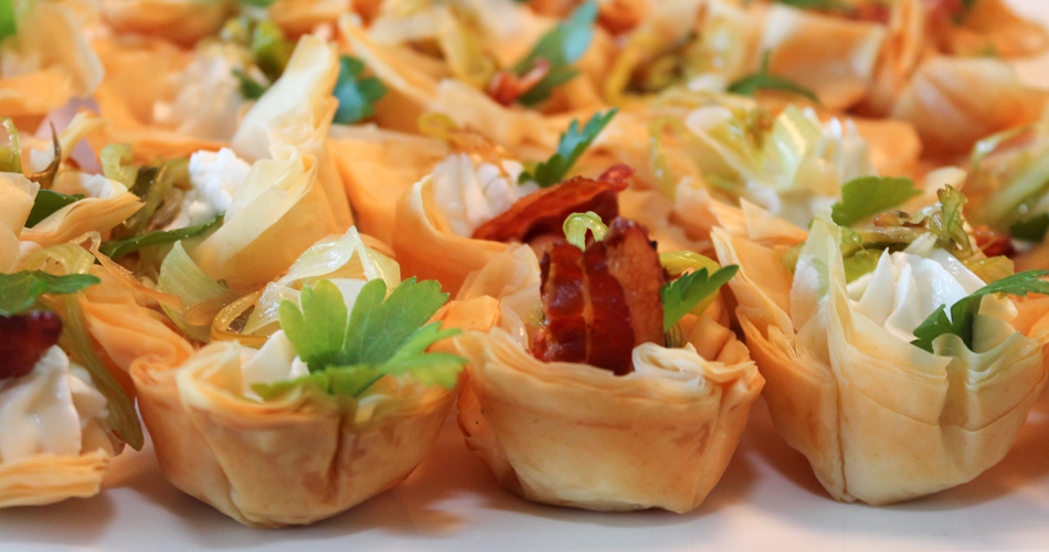 Filo Cups with Goat Cheese and Sautéed Leeks and Pancetta