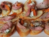 Crostini with Lamb, Apricot and Blue Cheese
