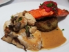 Chicken with Wild Mushrooms, Tarragon Cream, Pan Fried Salmon with Rhubarb Marmalade and Risotto Cake