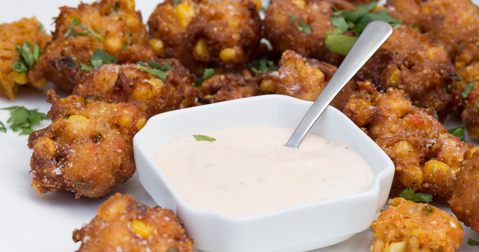 Corn fritters with chipotle creme